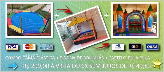 Cama Elastica + Piscina de Bolinhas + Castelo Pula Pula